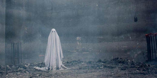 Casey Affleck as the ghost in David Lowery's A Ghost Story
