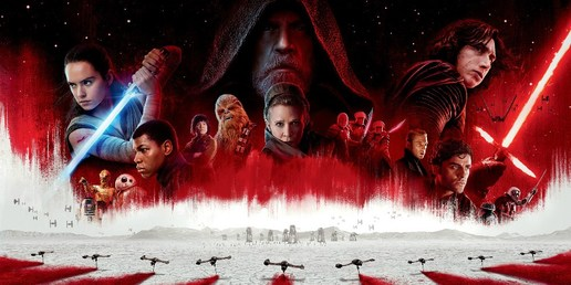 A poster featuring the cast of Start Wars: The Last Jedi - Mark Hamill, Carrie Fisher, Adam Driver, John Boyega, Daisy Ridley
